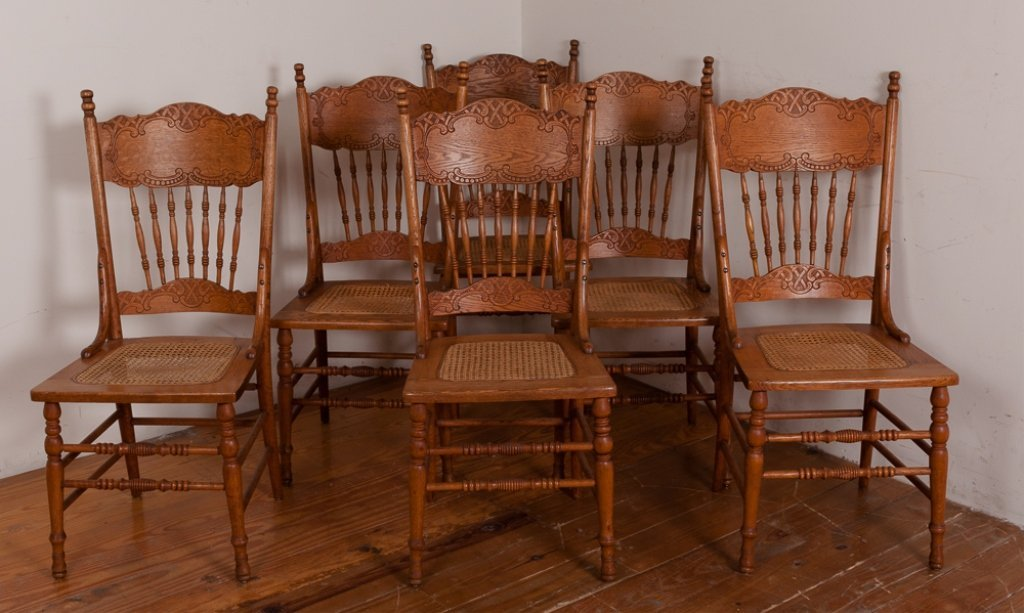 Press Back Dining Room Chairs, Six (6)