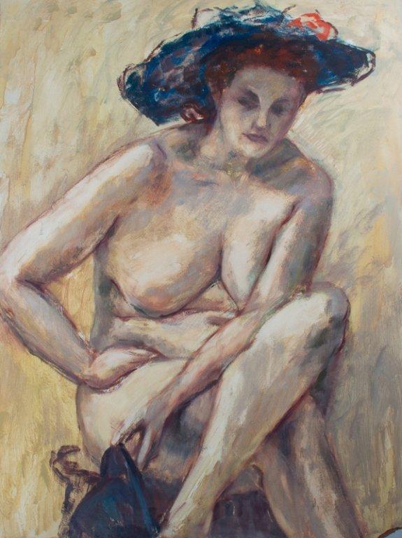 E. Metzger Nude Portrait Oil on Masonite, & Book