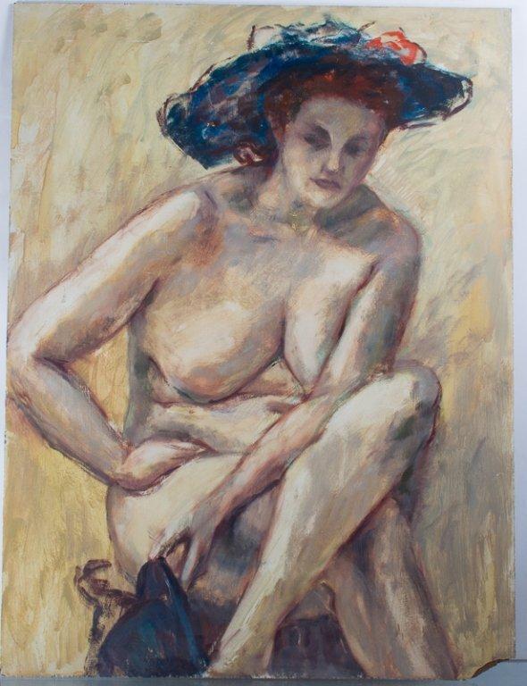 E. Metzger Nude Portrait Oil on Masonite, & Book - 2