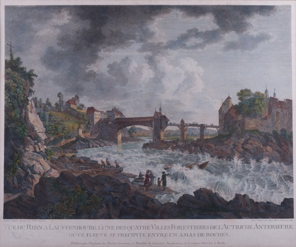 """The Rhine"" Hand-Colored Engraving"