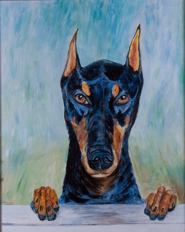 E. Fishman Doberman Oil On Canvas