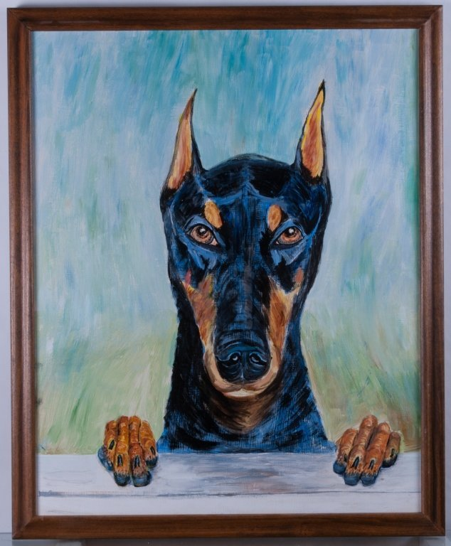 E. Fishman Doberman Oil On Canvas - 2