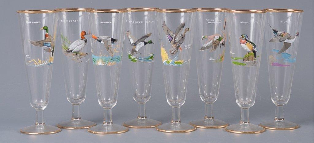 Ned Smith Pilsner Glasses, Eight (8)