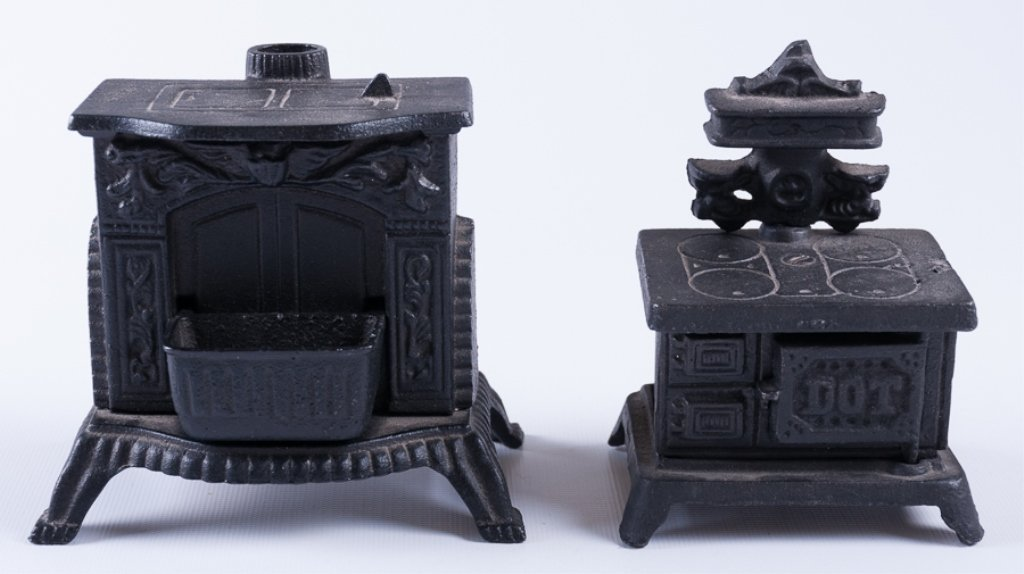 Reproduction Cast Iron Stove Banks, Two (2)