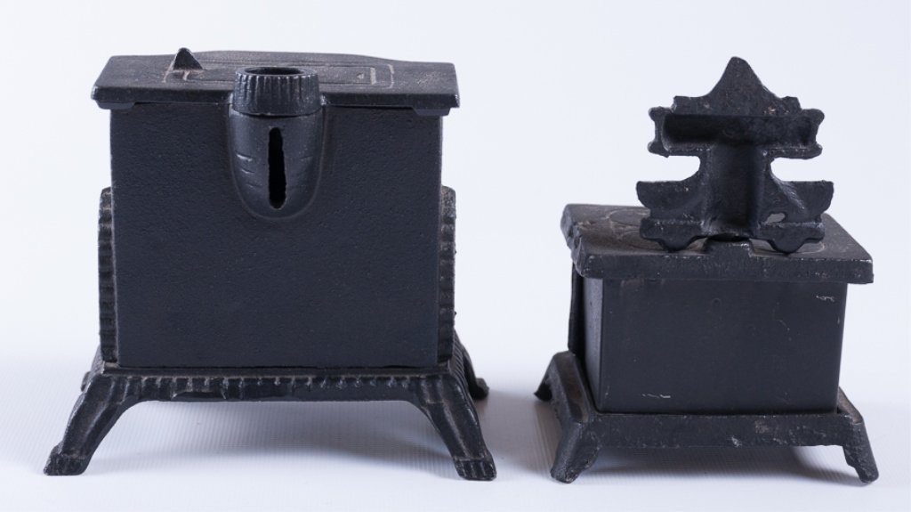 Reproduction Cast Iron Stove Banks, Two (2) - 2
