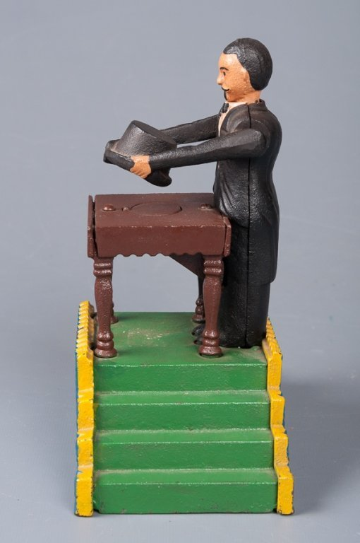 Reproduction Magician Cast Iron Bank - 4