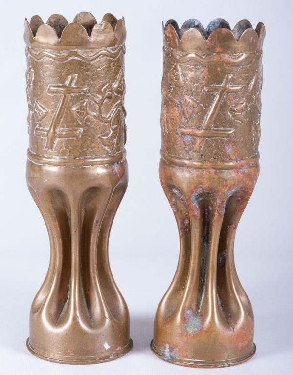 Trench Art Vases, Pair