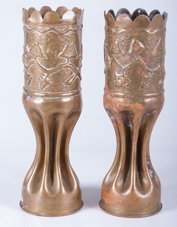 Trench Art Vases, Pair - 2