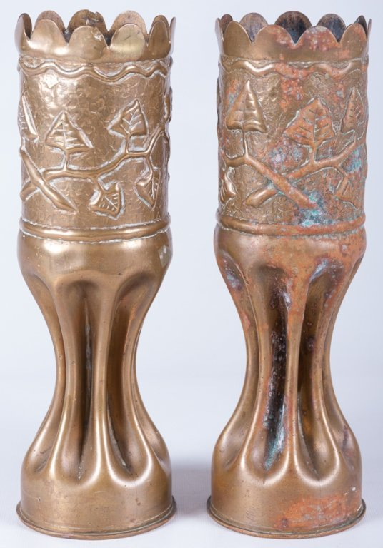 Trench Art Vases, Pair - 3