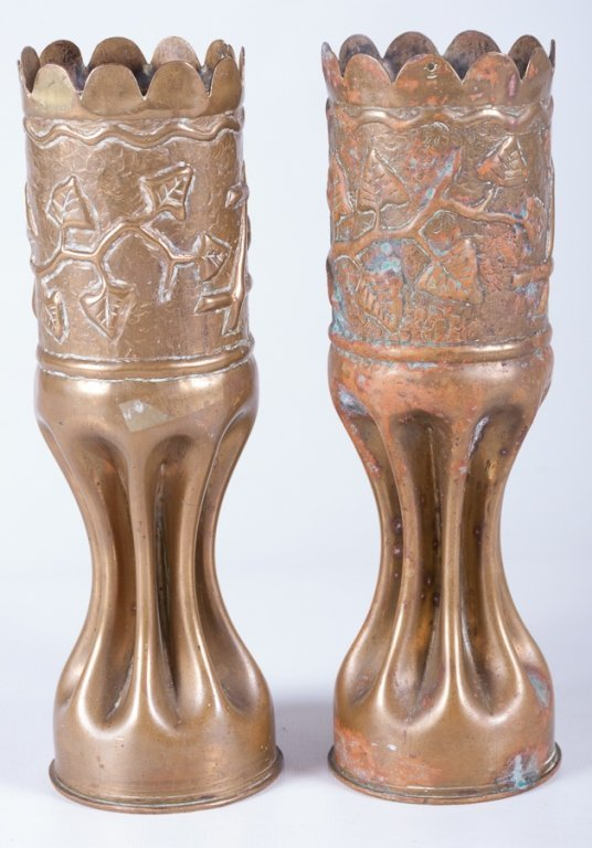 Trench Art Vases, Pair - 4