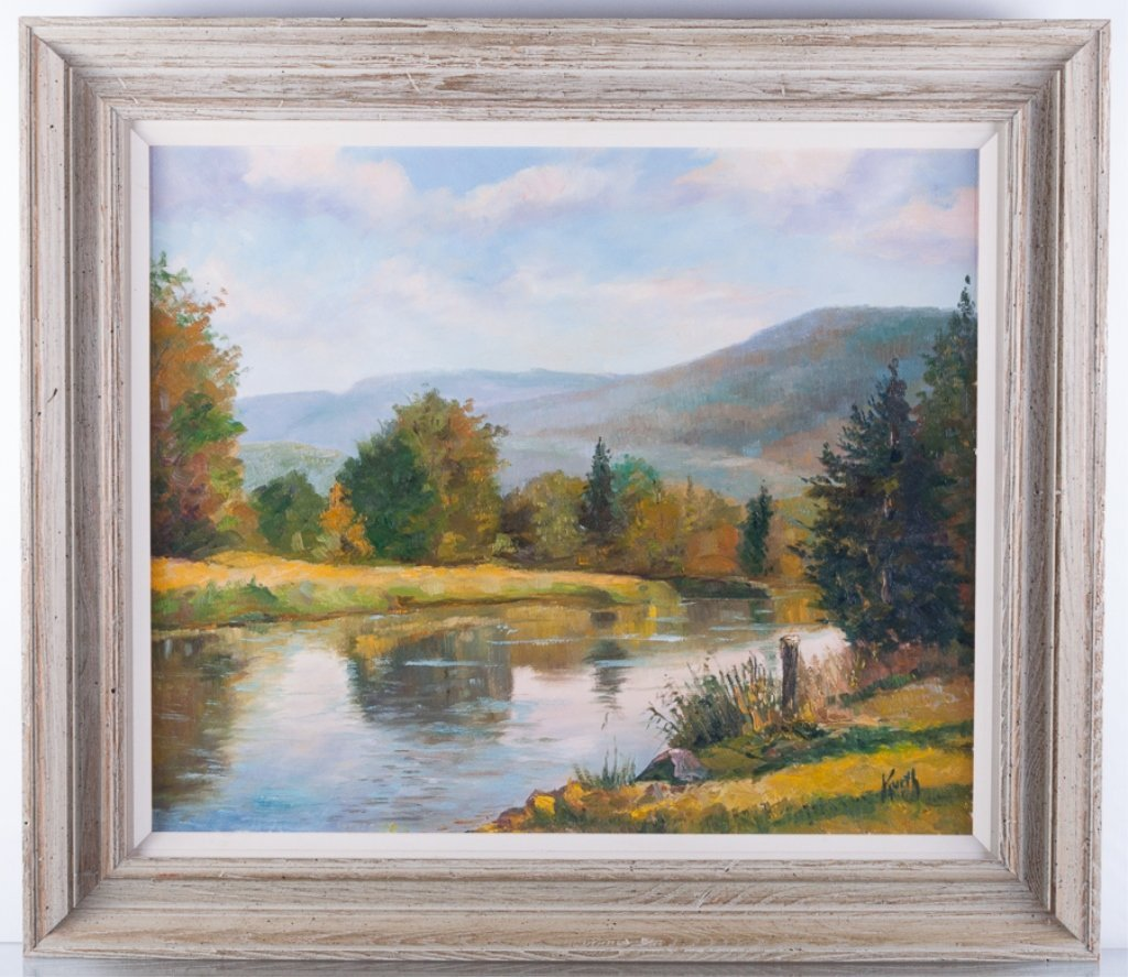 Otto Kurth Oil on Masonite Landscape - 2