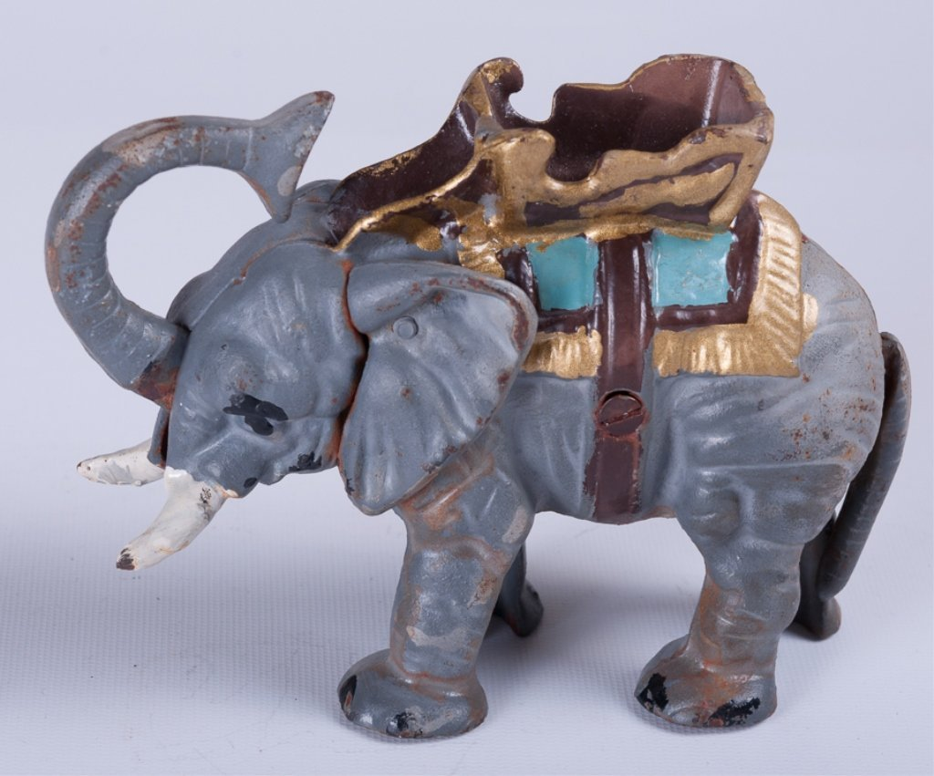 Vintage Cast Iron Elephant Bank - 3