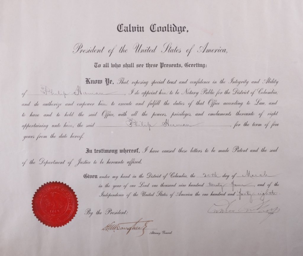 Calvin Coolidge Notary Appointment Document