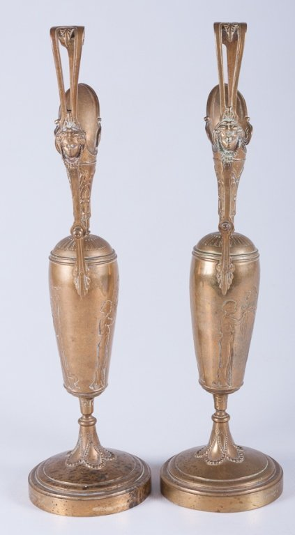 Tiffany & Co. Brass Ewers/ Garnitures, Pair