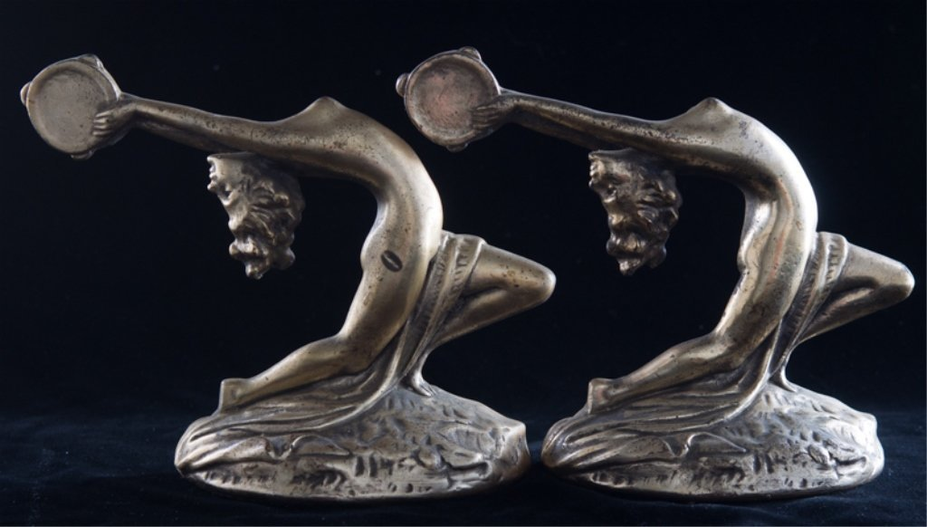 Armor Bronze Art Deco Bookends, Nude Female