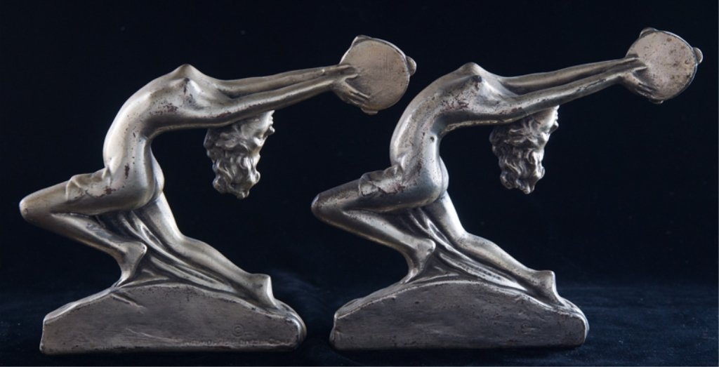 Armor Bronze Art Deco Bookends, Nude Female - 3