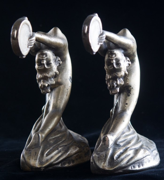 Armor Bronze Art Deco Bookends, Nude Female - 4