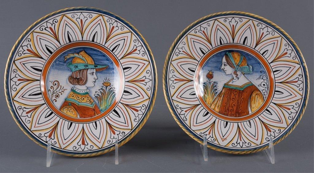Signed Fidia Italy Deruta Plates, Pair