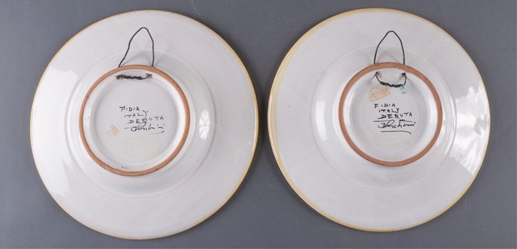Signed Fidia Italy Deruta Plates, Pair - 4