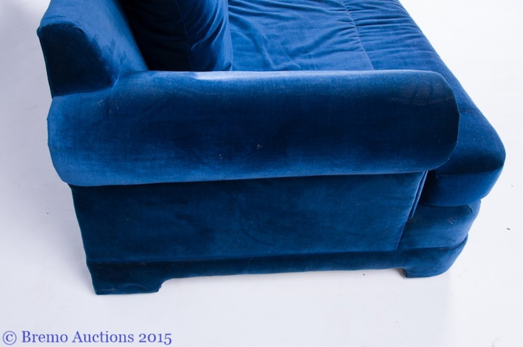 """LifeScapes"" by Karpen Blue Velvet Love Seat - 2"