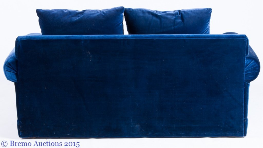 """LifeScapes"" by Karpen Blue Velvet Love Seat - 4"
