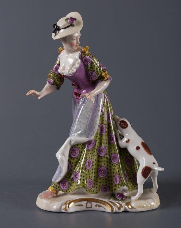 Nymphenburg Porcelain Figure, Woman & Dog