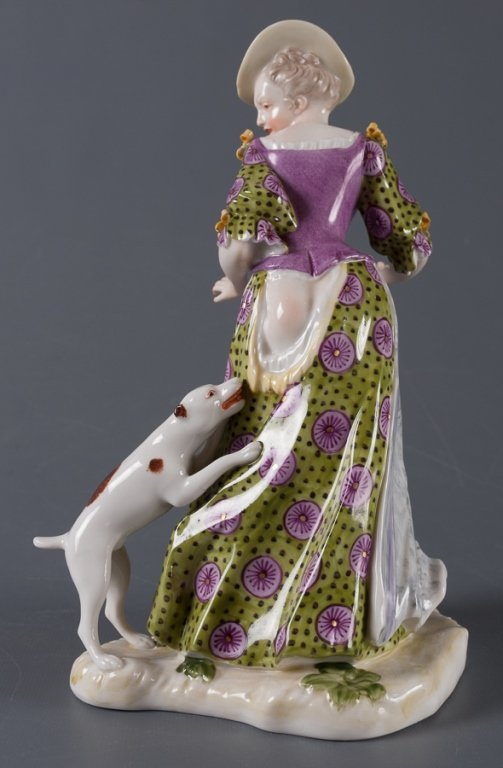 Nymphenburg Porcelain Figure, Woman & Dog - 3