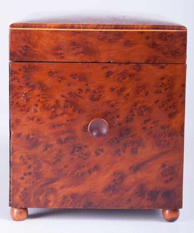 Pencil Line Inlaid Burlwood Music Box - 2