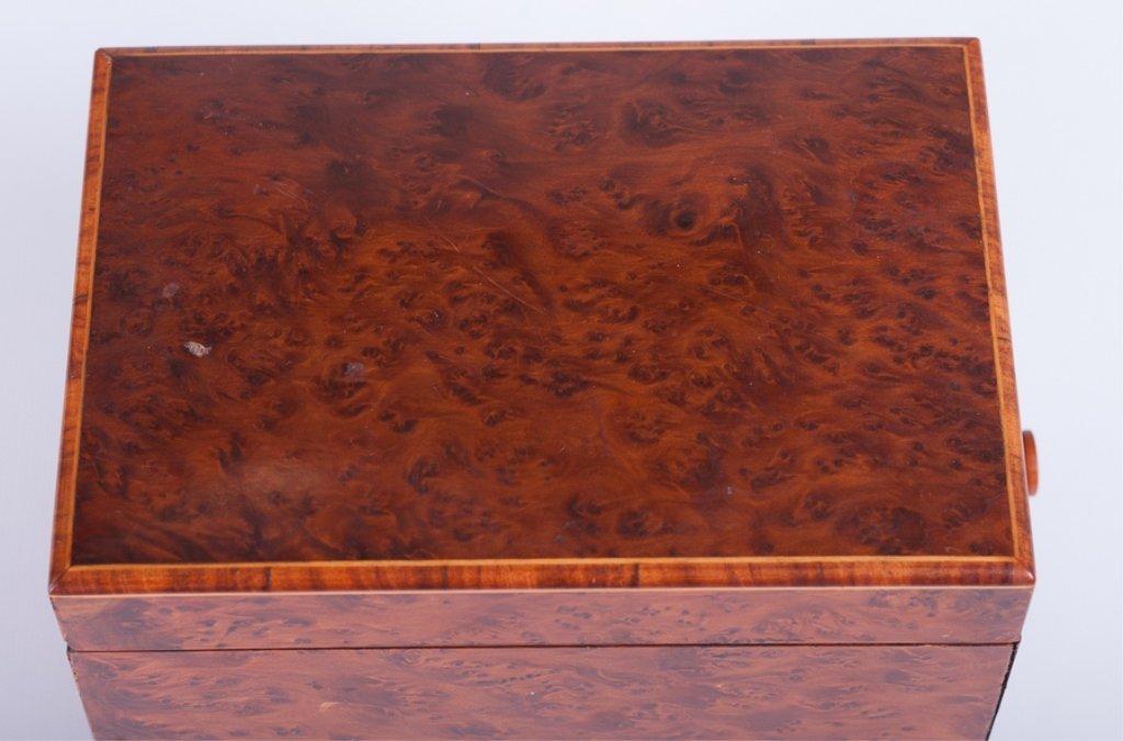 Pencil Line Inlaid Burlwood Music Box - 6