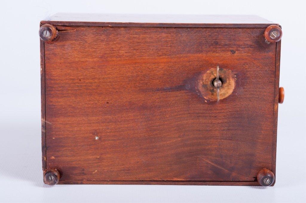 Pencil Line Inlaid Burlwood Music Box - 7