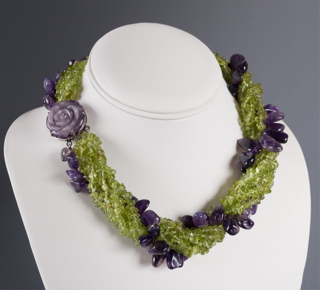 Amethyst & Peridot Twist Strand Necklace