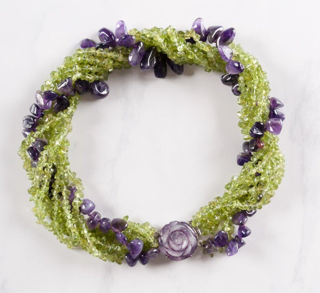 Amethyst & Peridot Twist Strand Necklace - 2