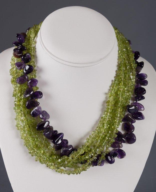 Amethyst & Peridot Twist Strand Necklace - 3
