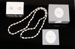 Christian Dior Earrings & Pearl Necklace