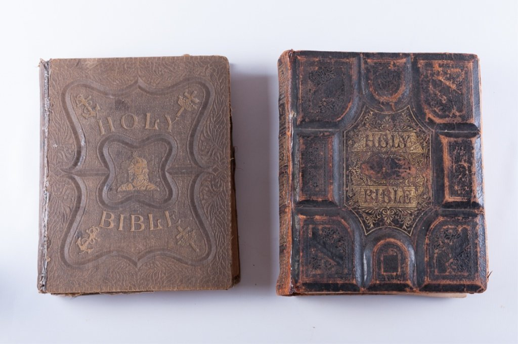 Leather Bound Holy Bibles, Two (2)