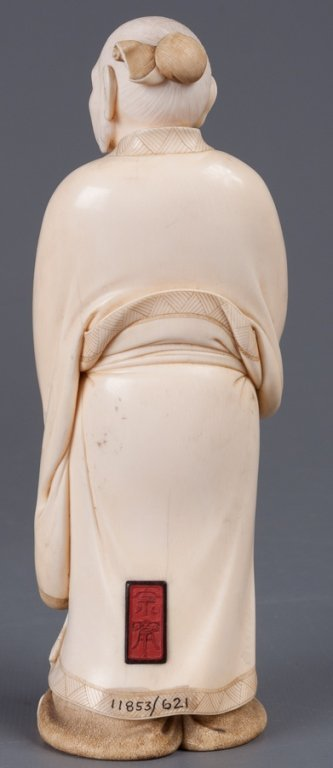 Chinese Bone Carving, Man Holding Peach - 10