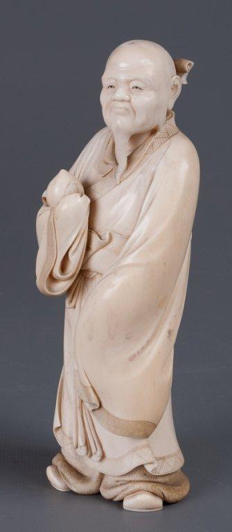 Chinese Bone Carving, Man Holding Peach