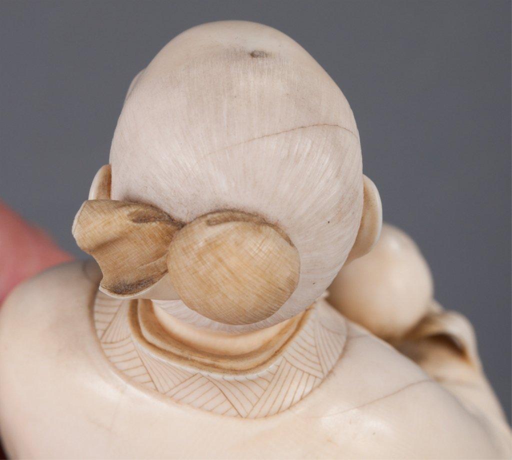Chinese Bone Carving, Man Holding Peach - 2
