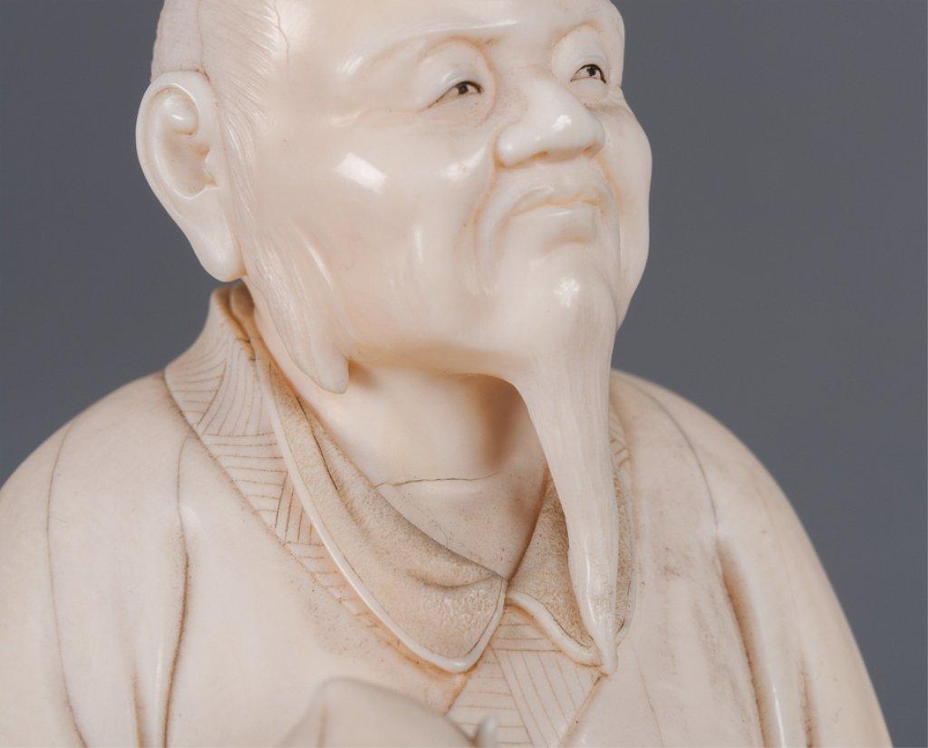 Chinese Bone Carving, Man Holding Peach - 3