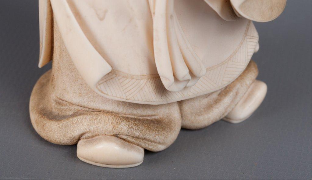 Chinese Bone Carving, Man Holding Peach - 4