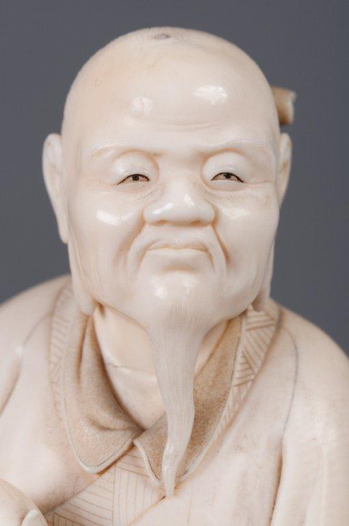 Chinese Bone Carving, Man Holding Peach - 5