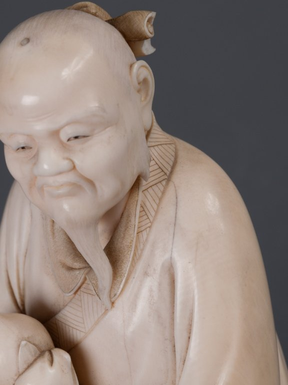 Chinese Bone Carving, Man Holding Peach - 6