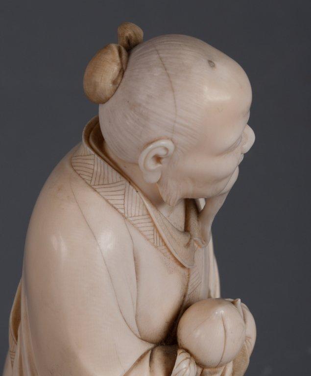 Chinese Bone Carving, Man Holding Peach - 7
