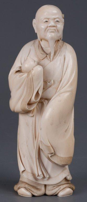 Chinese Bone Carving, Man Holding Peach - 8