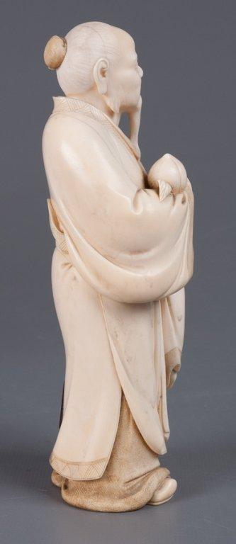 Chinese Bone Carving, Man Holding Peach - 9