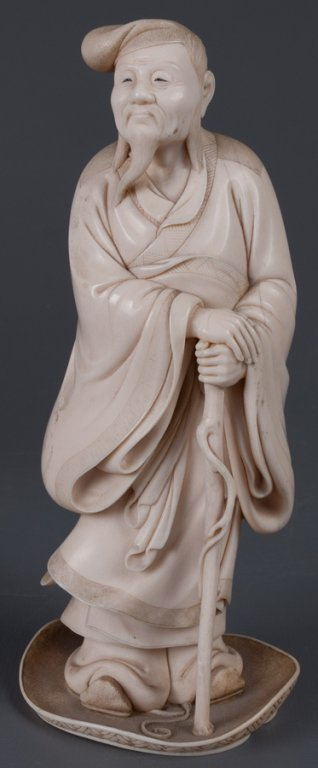 Chinese Bone Carving, Man w/ Staff