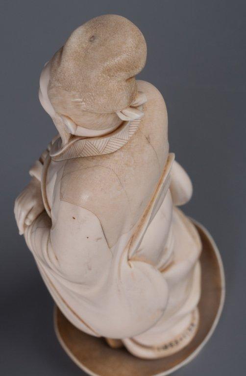 Chinese Bone Carving, Man w/ Staff - 2