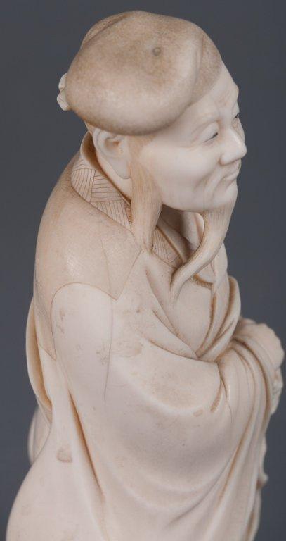 Chinese Bone Carving, Man w/ Staff - 3