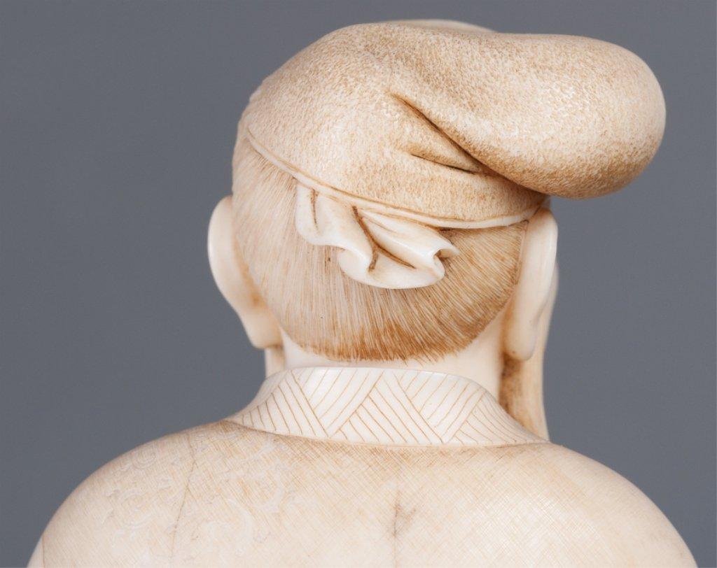 Chinese Bone Carving, Man w/ Staff - 5