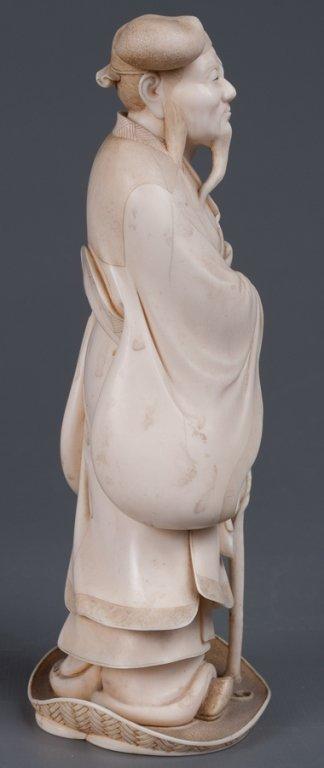 Chinese Bone Carving, Man w/ Staff - 7